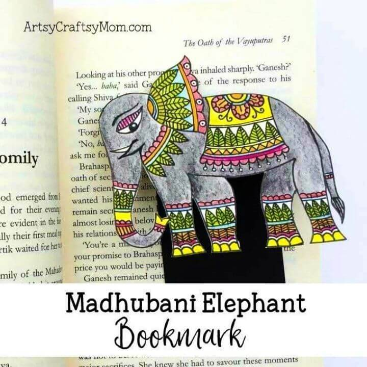 Quick DIY Madhubani Elephant Folk Art Bookmark, will be a breeze to make even for a kid