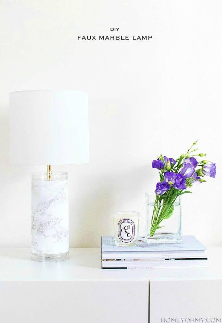 Quick to Make Faux Marble Lamp, bring also the marble touch to your home spaces by making marble lamps using marble contact paper!