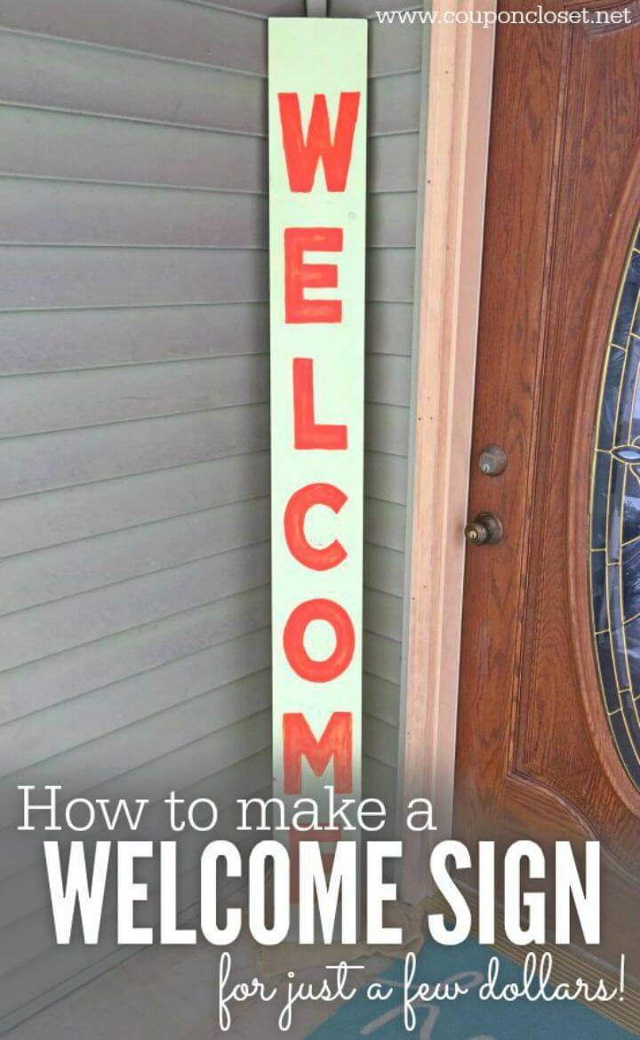 Quick to Make Welcome Sign, decorate your porch in no time by making this quick welcome porch sign with a wood plank!