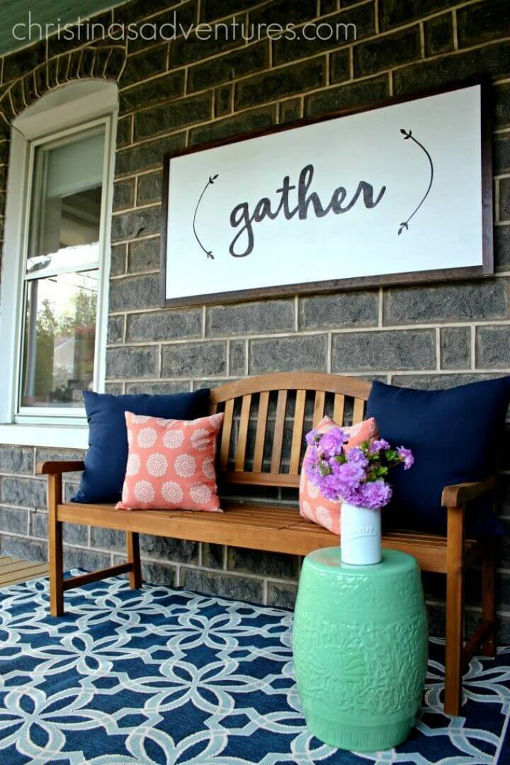 Simple DIY Large Wood Sign, also make this large wood gather sign for your porch