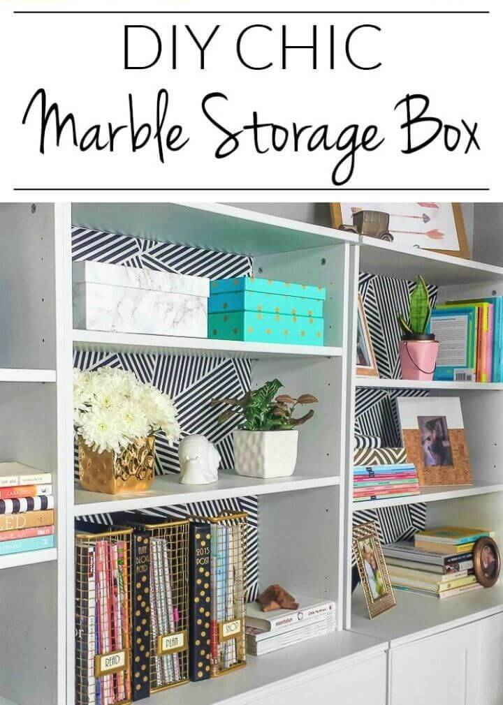 Simple DIY Marble Storage Box, create a faux marble appeal of your storage boxes using the marble contact paper!
