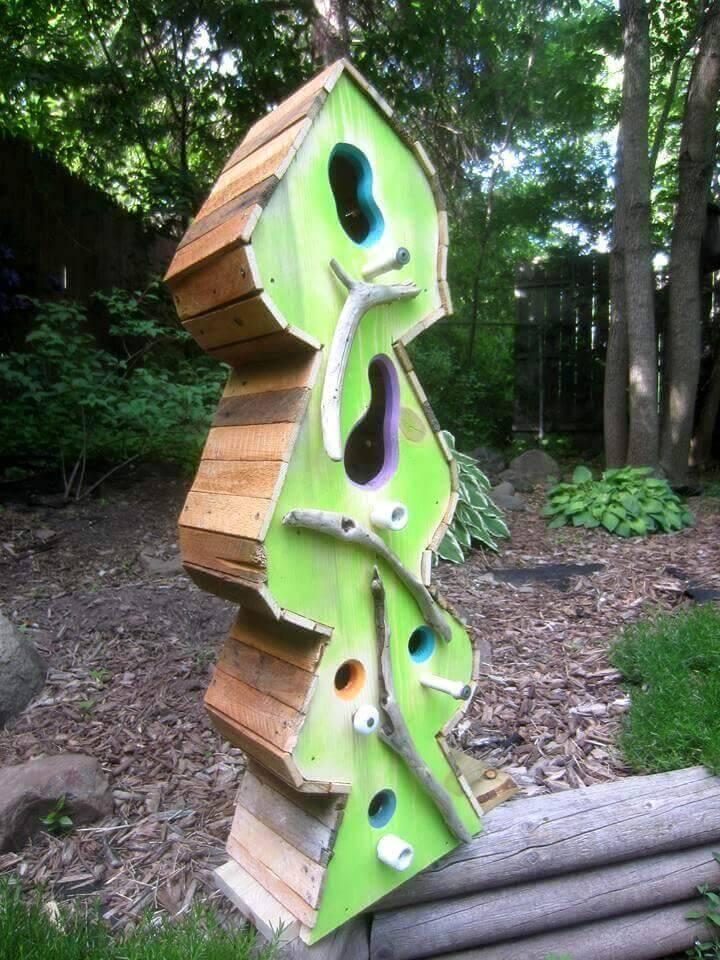 diy pallet made bird house