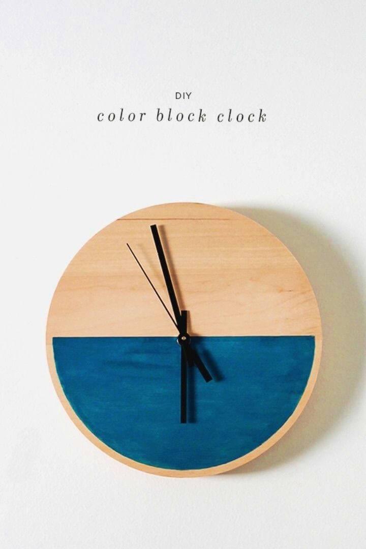 Beautiful DIY Color Block Clock