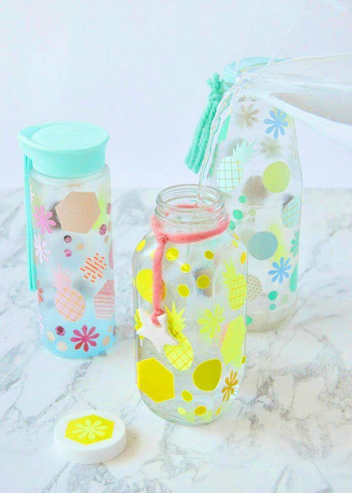 Cute DIY Decoupaged Water Bottles