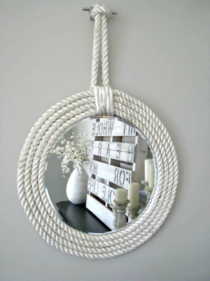 Cute DIY Nautical Rope Mirrors