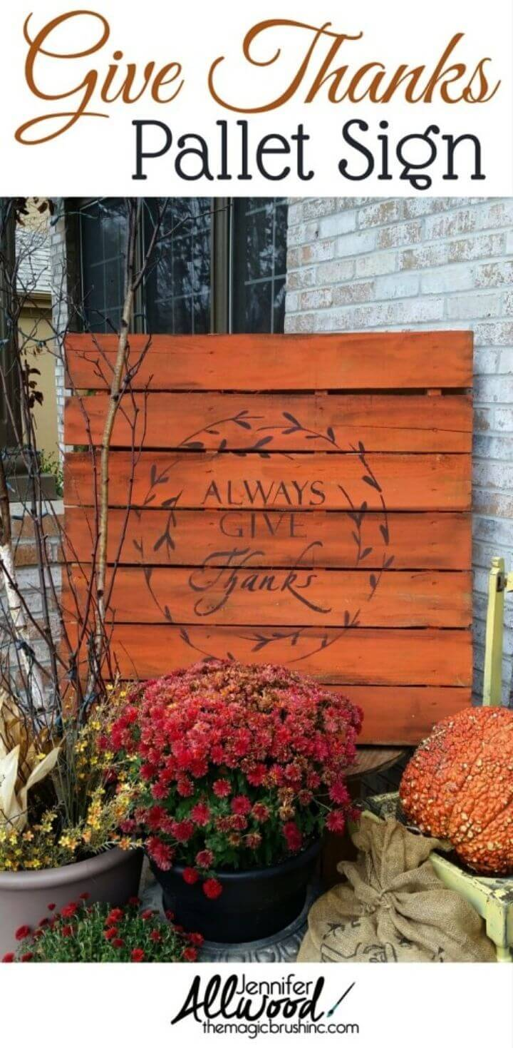 "DIY ""Always Give Thanks"" Fall Pallet Sign"