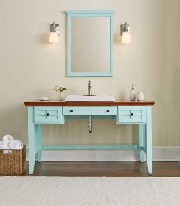 DIY Bathroom Vanity From A Desk