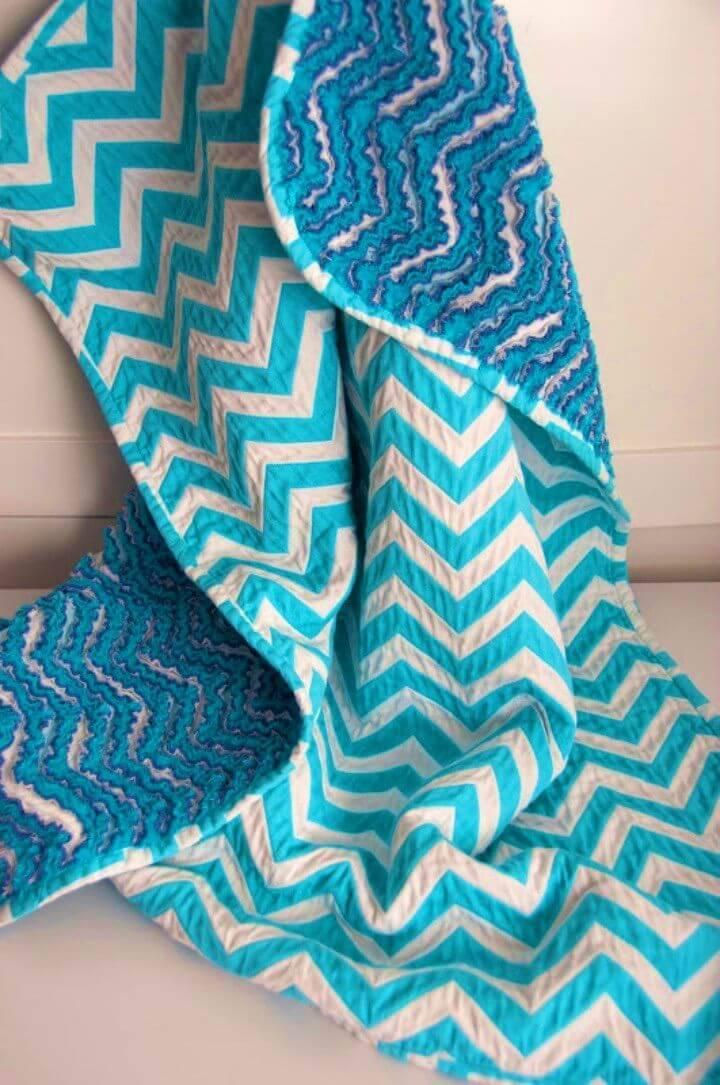 DIY Chevron Chenille Baby Blanket