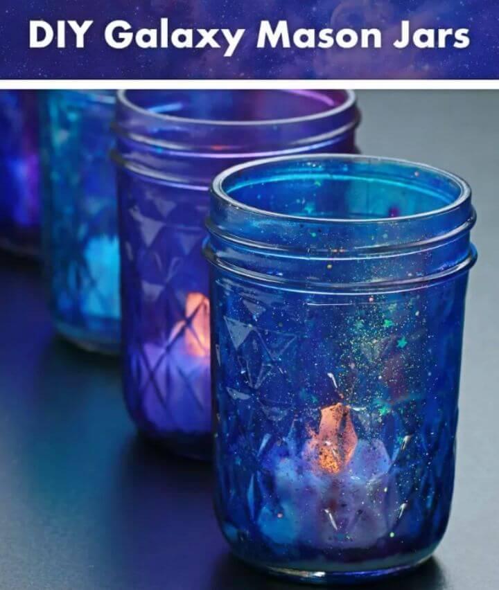 DIY Decoupage Galaxy Candle Jars