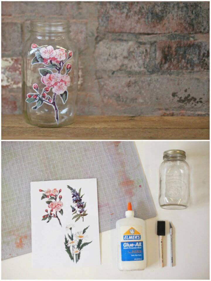 DIY Decoupage Glass Jar