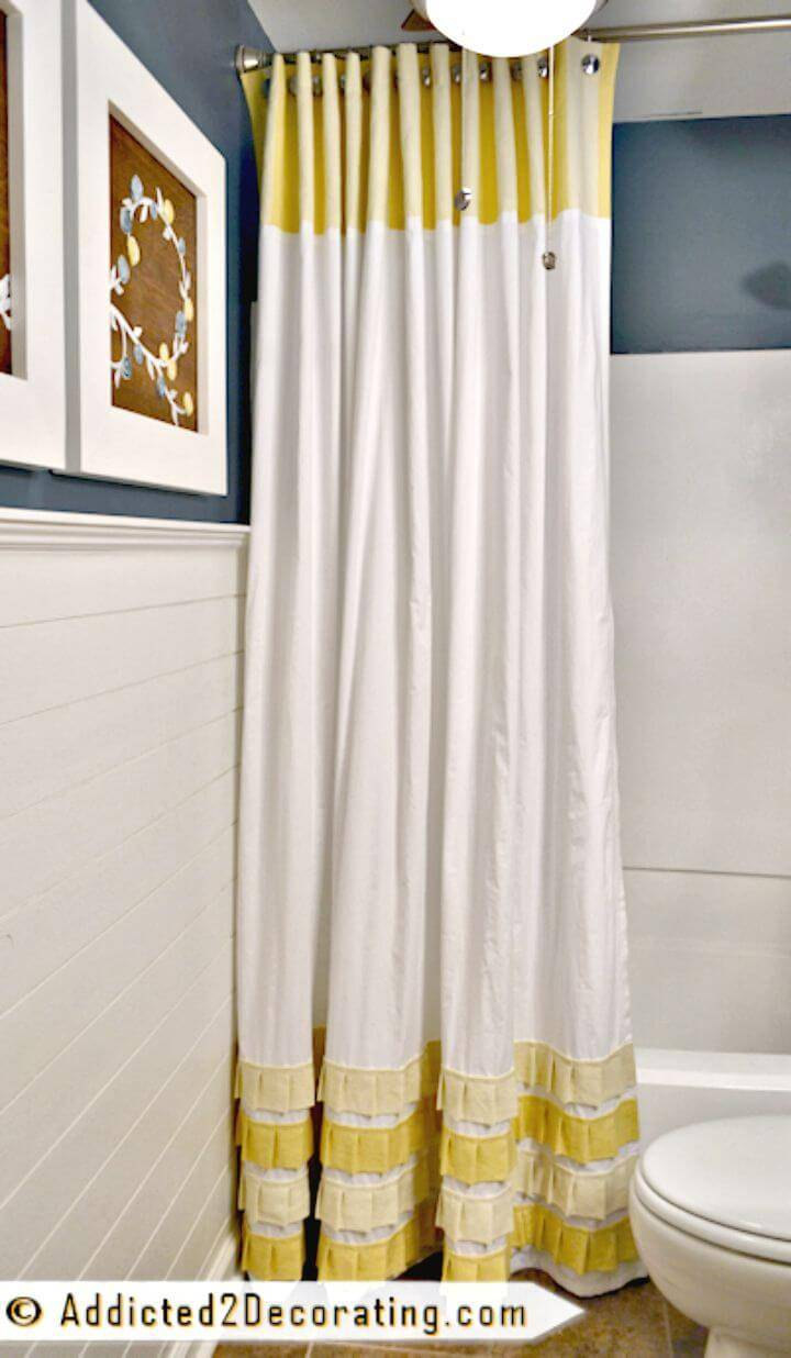 DIY Extra Long Shower Curtain with Pleated Ruffle Accents