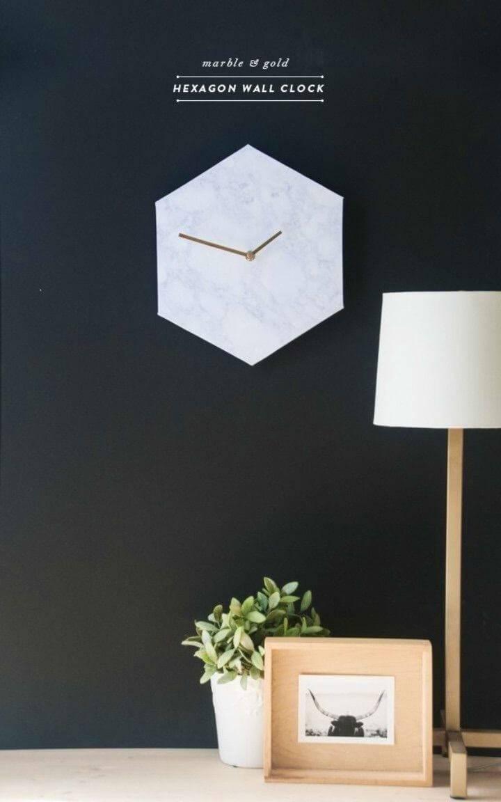 DIY Hexagon Marble Wall Clock