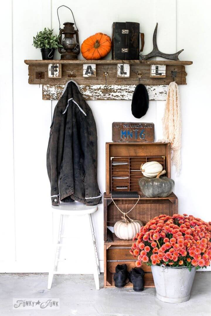 DIY Interchangeable Fall Farm Reclaimed Wood Coat Hook Shelf