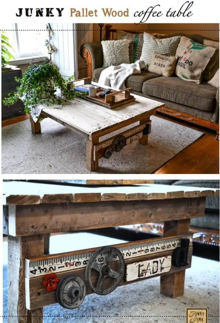 DIY Junk Styled Pallet Wood Coffee Table