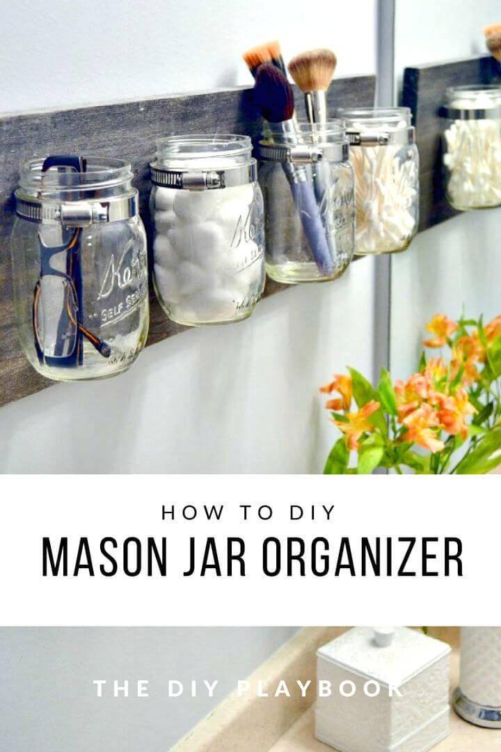 DIY Mason Jar Bath Organizer