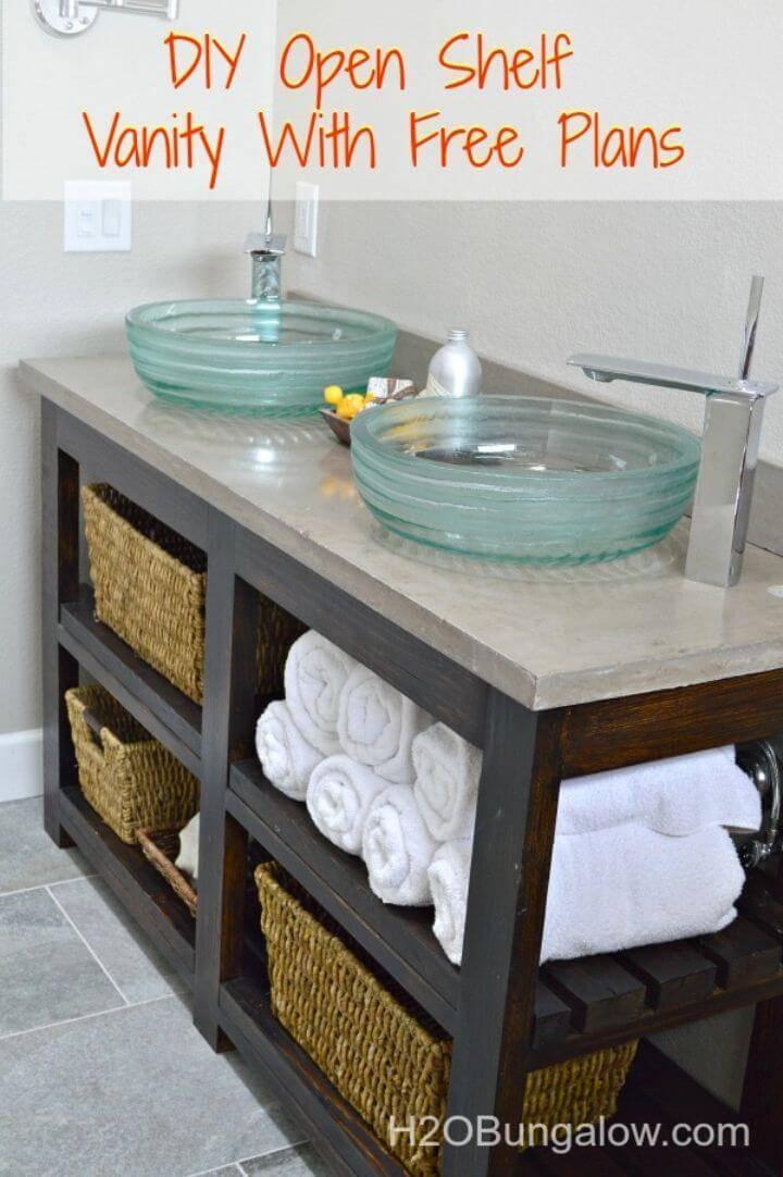 DIY Open Shelf Bathroom Vanity