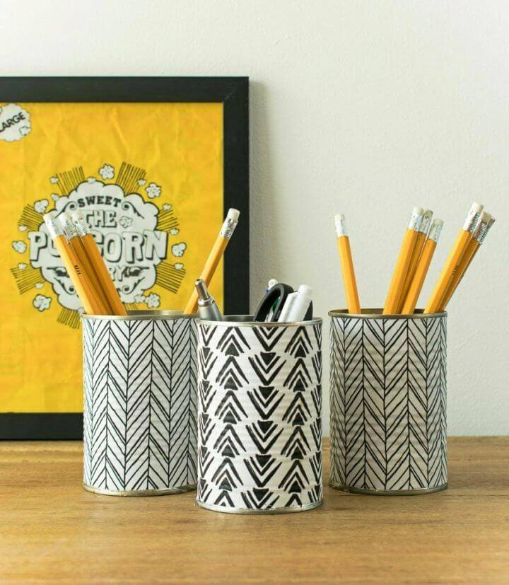 DIY Pencil Holder From Empty Tin Cans