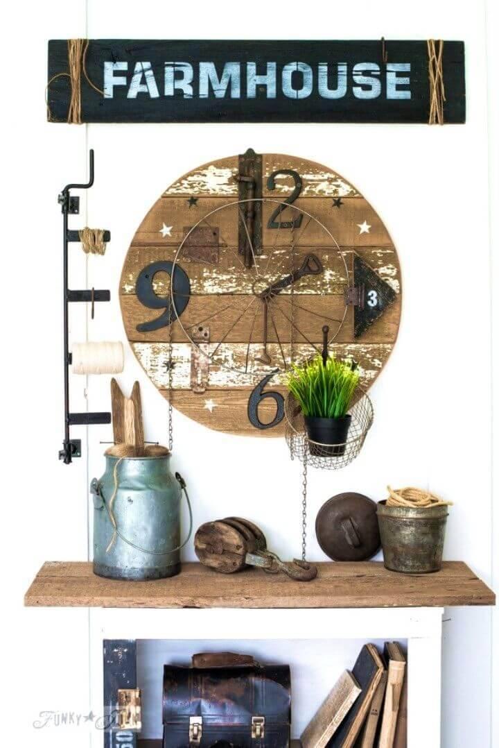 DIY Salvaged Junk Clock With Farmhouse Sign 1