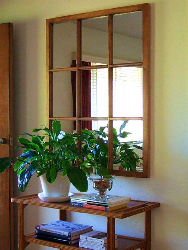 DIY Salvaged Window Frame Mirror