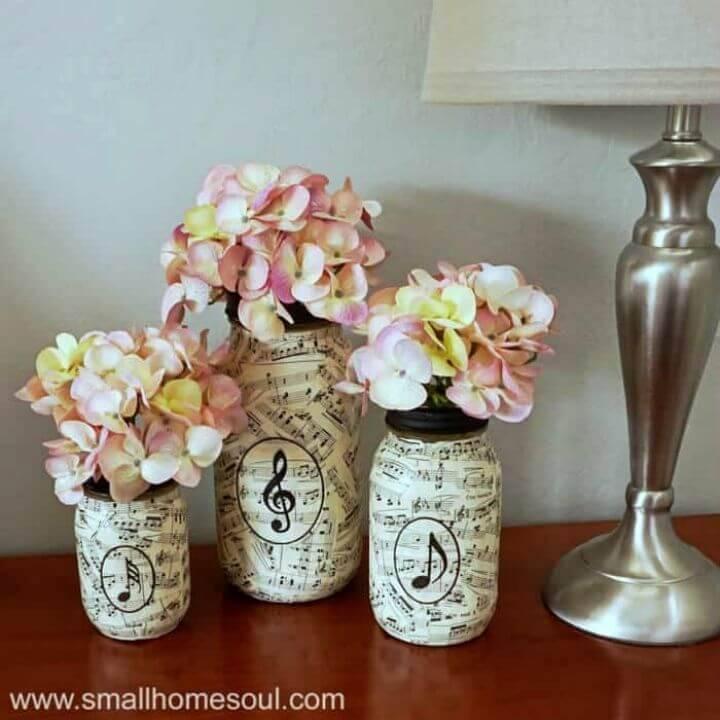 DIY Sheet Music Mason Jar Vases