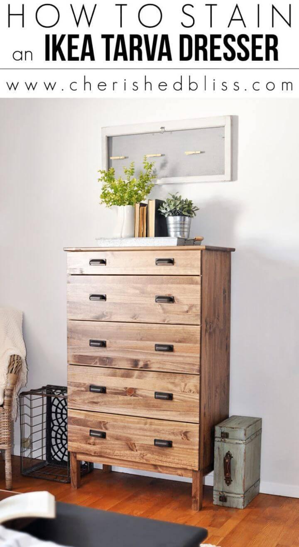 DIY Stain an Ikea Tarva Dresser