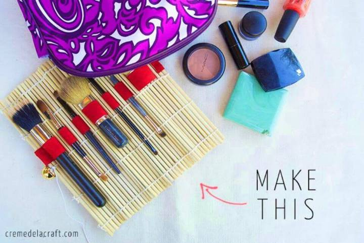 DIY Sushi Mat Makeup Brush Roll