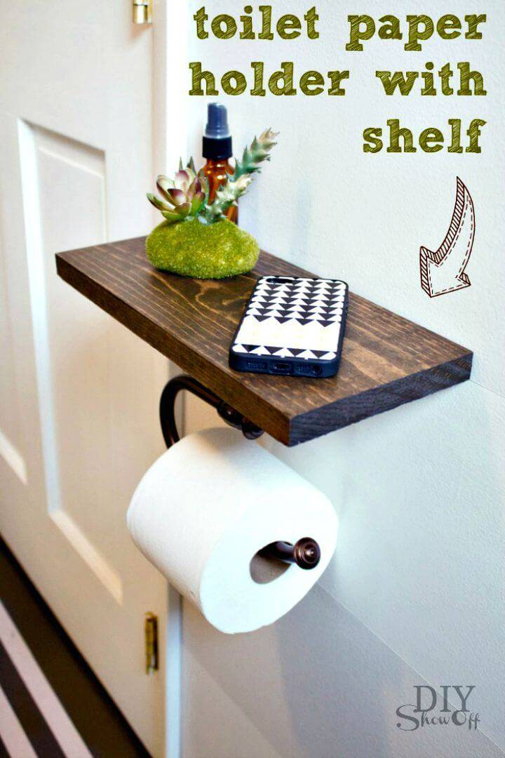 DIY Toilet Paper Holder Shelf and Bathroom Accessories