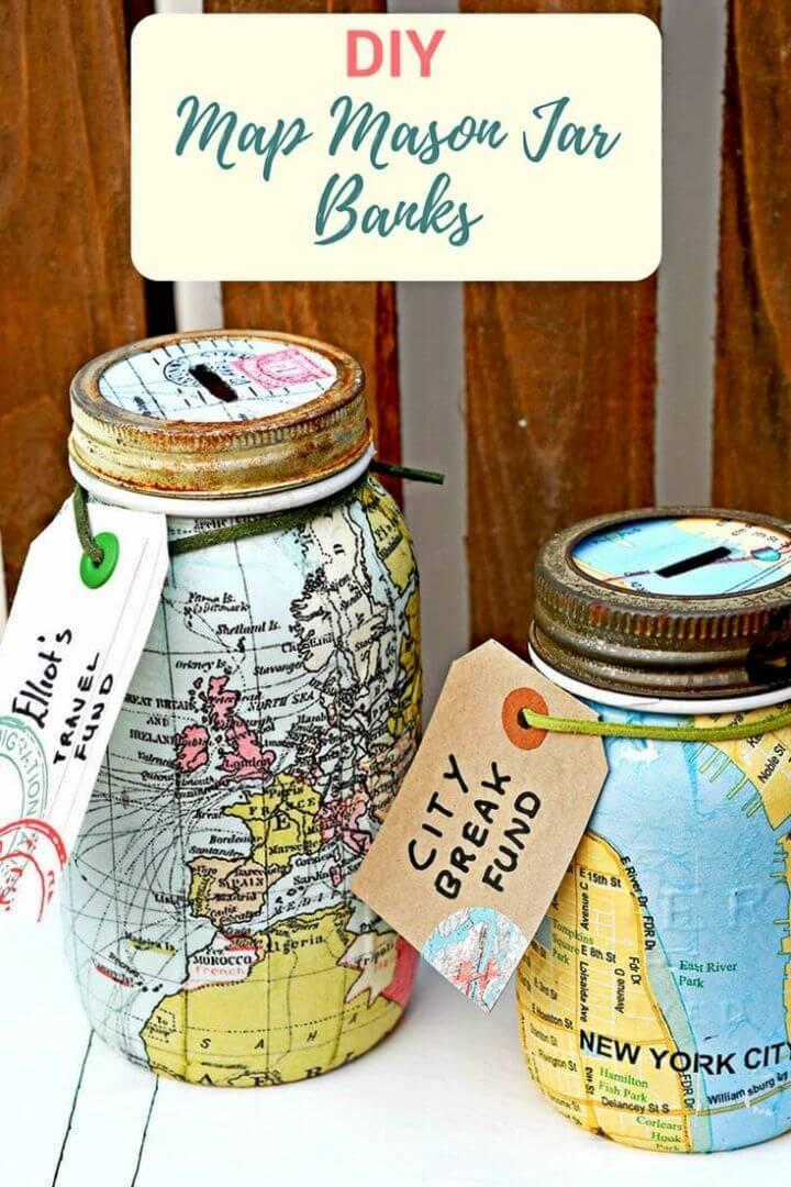 DIY Travel Themed Mason Jar Bank