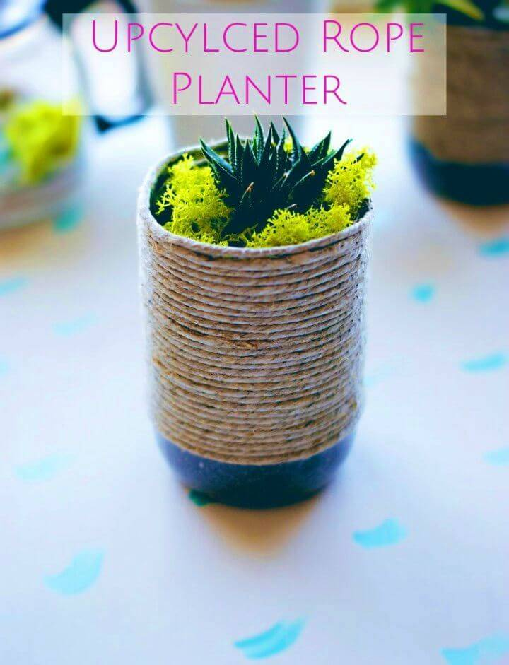 DIY Upcycled Rustic Rope Planter