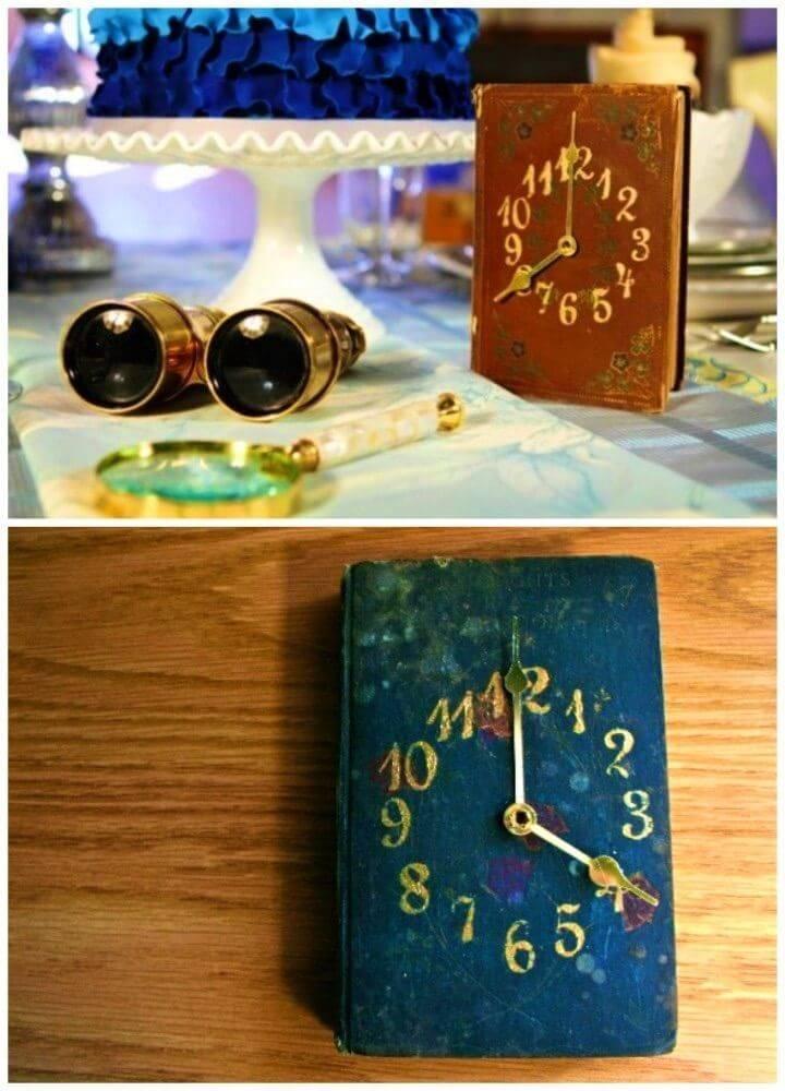 DIY Vintage Book Clock Table Number