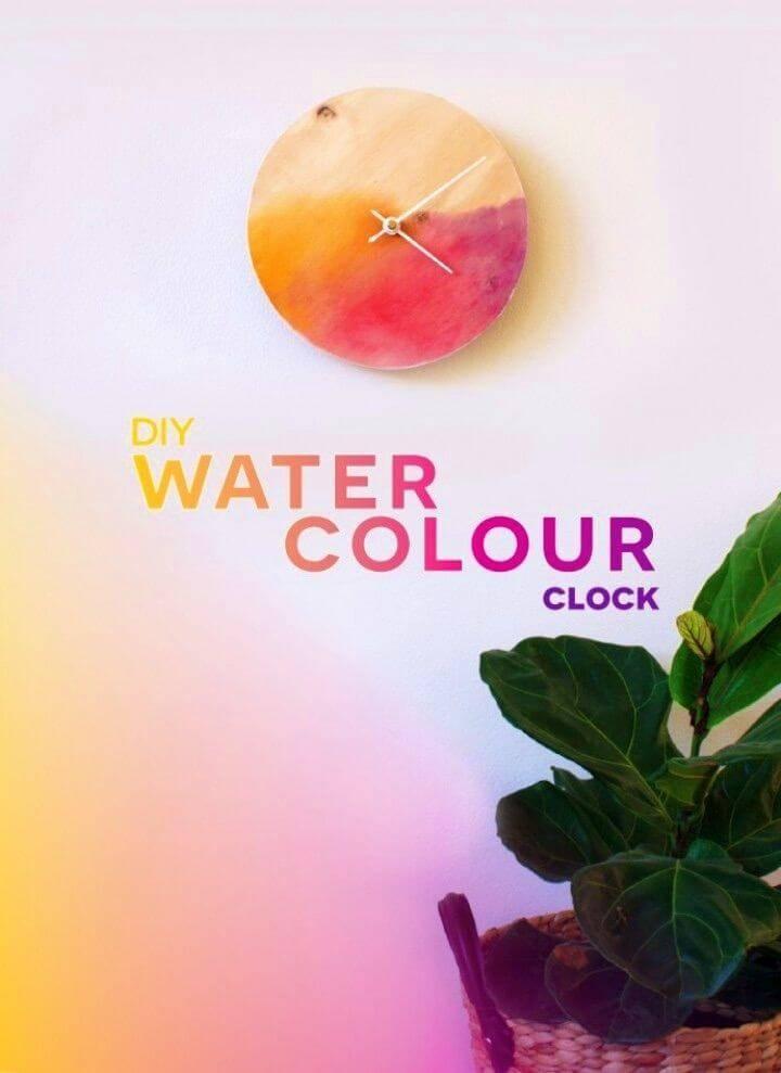 DIY Watercolour Clock Gift Idea