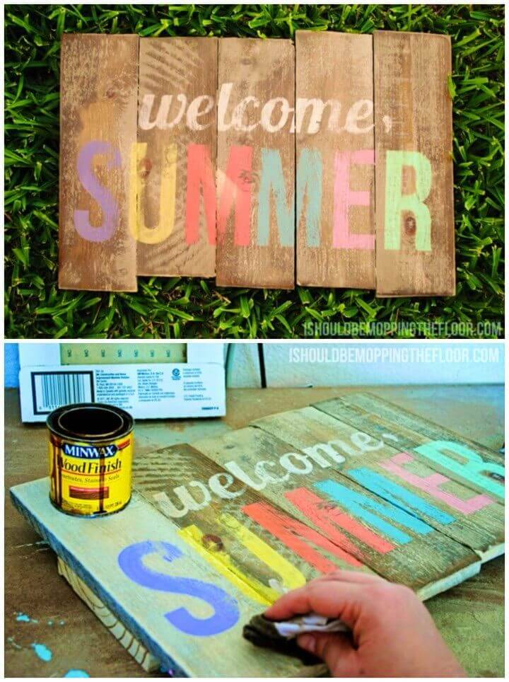 DIY Weathered Summer Pallet Sign