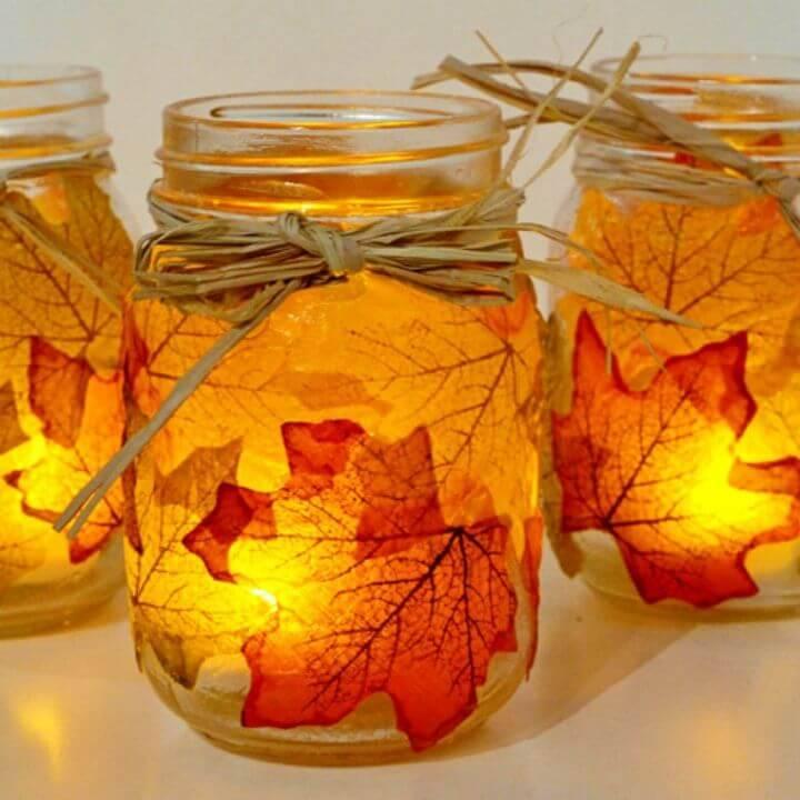 Easy DIY Autumn Leaf Mason Jar Candle Holder