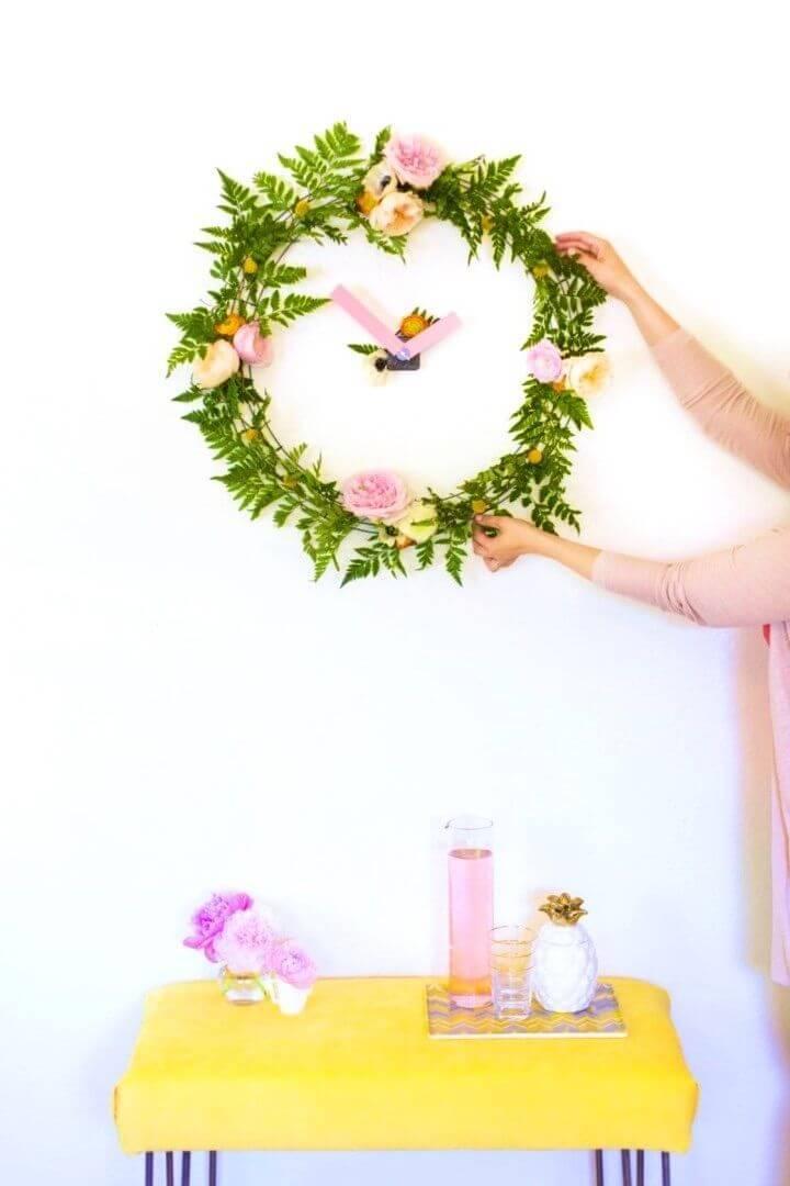 Easy DIY Floral Wall Clock
