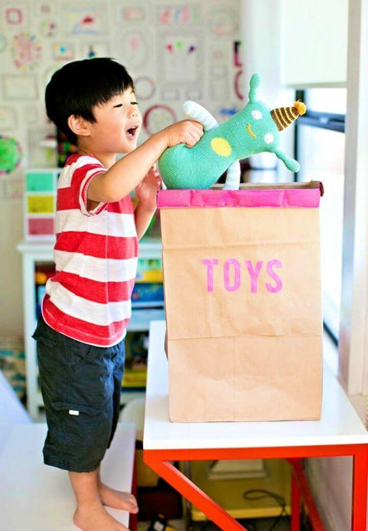 Easy DIY Grocery Bags Into Toy Storage Bin