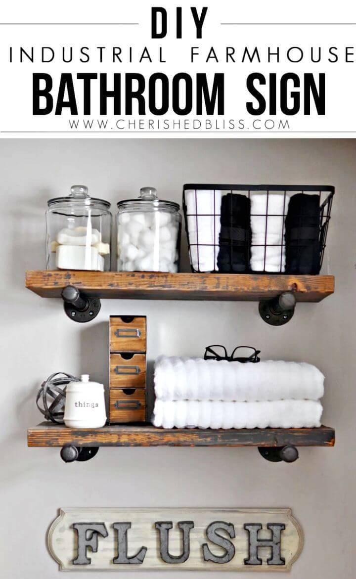 Easy DIY Industrial Farmhouse Bathroom Sign 1
