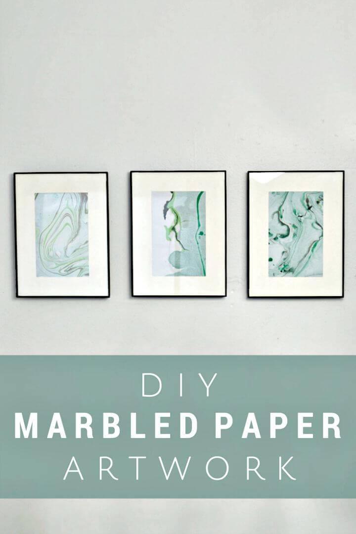 Easy DIY Marbled Paper Art Using Nail Polish