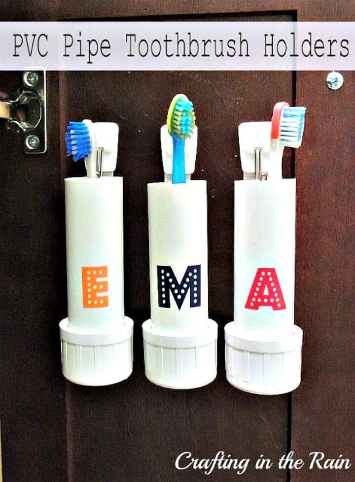 Easy DIY PVC Pipe Toothbrush Holders