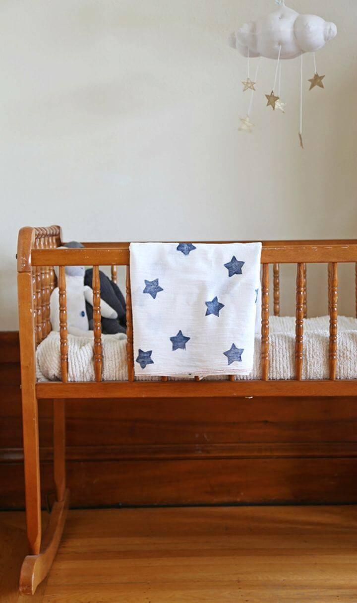 Easy DIY Star Printed Muslin Swaddle Blanket