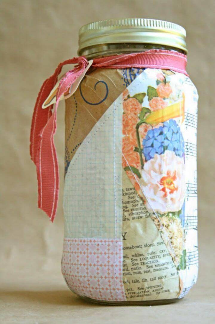 Easy to Make Patchwork Paper Covered Jar