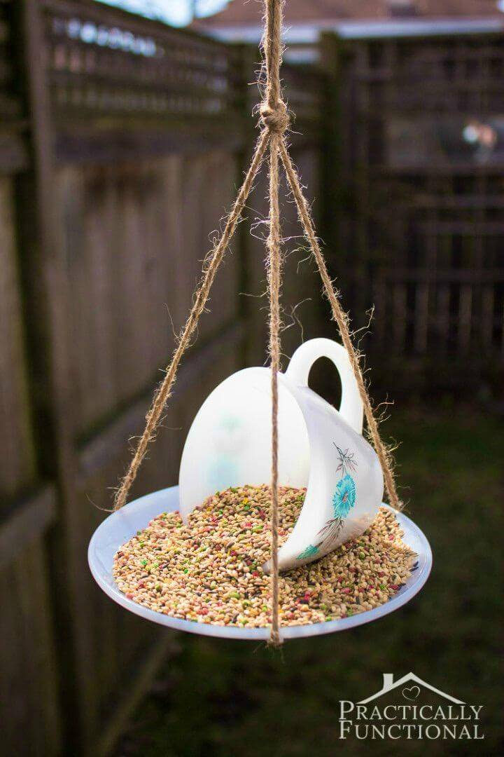 Easy to Make Teacup Bird Feeder