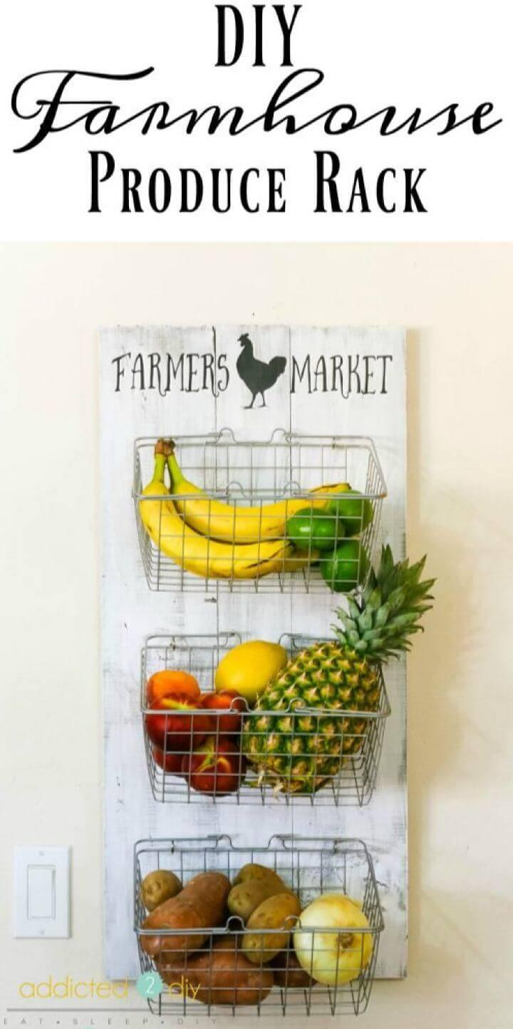 How to DIY Farmhouse Produce Rack
