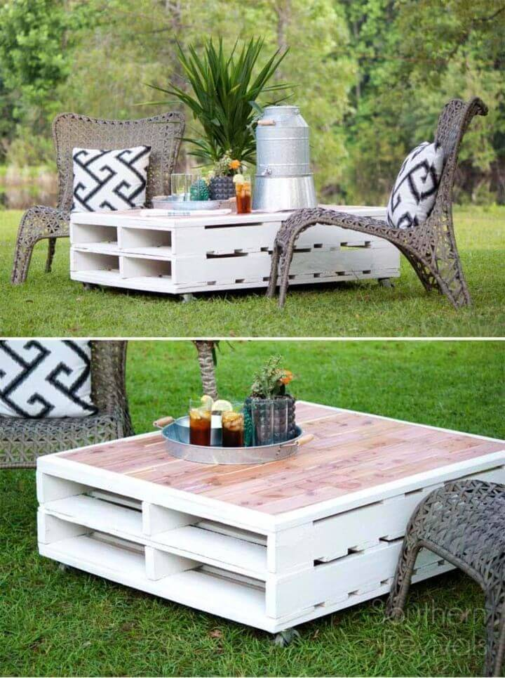 Inexpensive DIY Outdoor Pallet Coffee Table