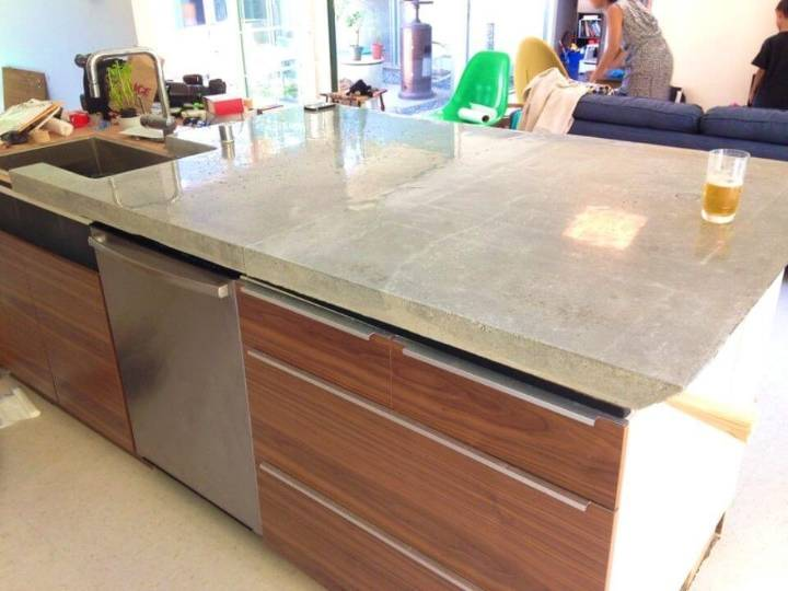 Low Budget DIY Kitchen Concrete Countertops