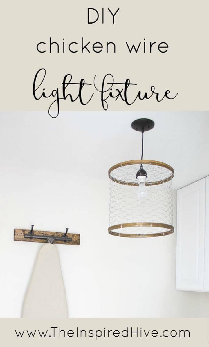 Make Chicken Wire Light Fixture