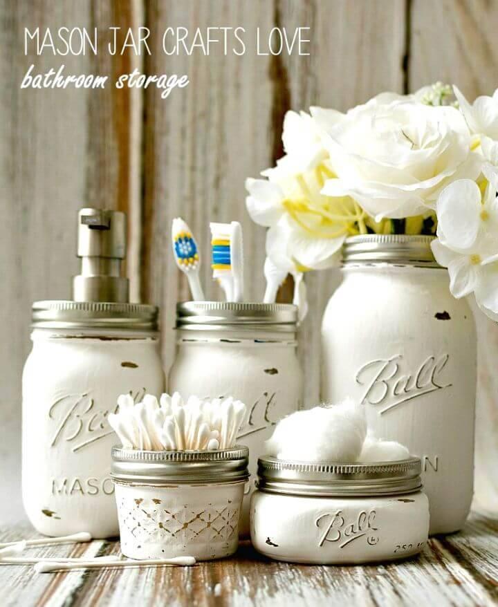 Make Mason Jar Bathroom Storage and Accessories