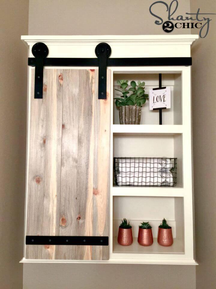 Make Sliding Barn Door Bathroom Cabinet 1