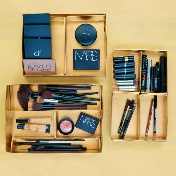 Makeup Storage Trays Using Shoeboxes