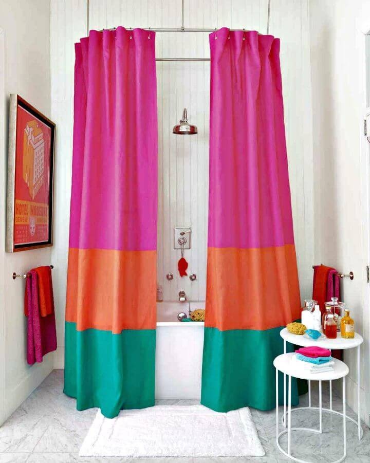 Pretty DIY Color block Shower Curtain