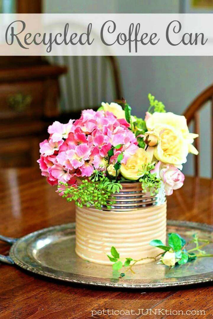 Pretty DIY Glam Coffee Can Flower Vase